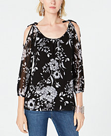 I.N.C. Printed Tie-Shoulder Top, Created for Macy's