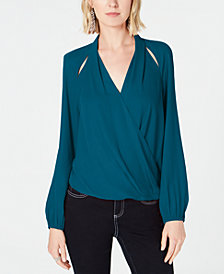 I.N.C Cutout Surplice Top, Created for Macy's