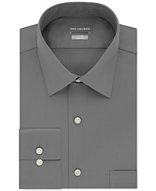 Men's Fitted Stretch Wrinkle Free Sateen Solid Dress Shirt
