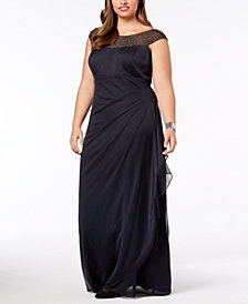 XSCAPE Plus Size Embellished Ruched Gown