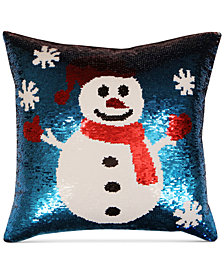 hallmart collectibles snowman sequin 18 square decorative pillow