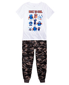 Epic Threads Little Boys Graphic-Print T-Shirt & Camo-Print Jogger Pants, Created for Macy's