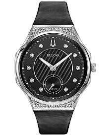 Bulova Women's Curv Progressive Sport Diamond (1 ct. t.w.) Black Techo Satin Strap Watch 40.5mm