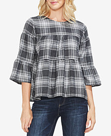 Vince Camuto Plaid Tiered Bell-Sleeve Top