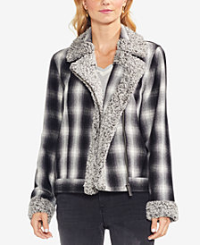 Vince Camuto Plaid Faux-Fur-Trim Jacket