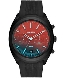 Diesel Men's Chronograph Tumbler Black Silicone Strap Watch 48mm