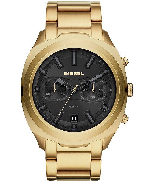 Diesel Men's Chronograph Tumbler Gold-Tone Stainless Steel Bracelet Watch 48mm