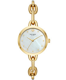 kate spade new york Women's Metro Gold-Tone Stainless Steel Chain Bracelet Watch 30mm