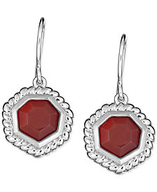 Red Agate Drop Earrings in Sterling Silver