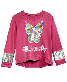 Beautees Big Girls Butterfly Reversible Sequin Sweatshirt