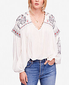 Free People Rock It Tonight Embroidered Peasant Blouse