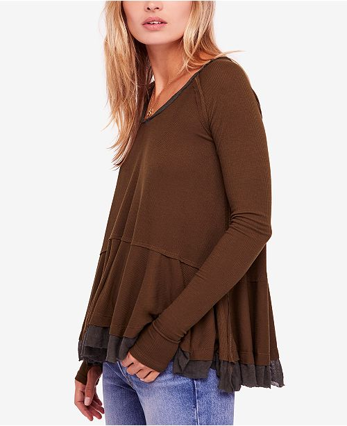 3a4c5e900f7c9 Free People Tangerine Tiered Thumbhole Top   Reviews - Tops - Women ...