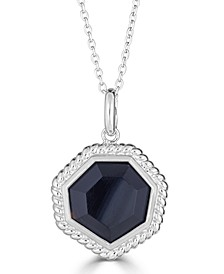 """Onyx (14mm) Beaded Frame 18"""" Pendant Necklace in Sterling Silver"""