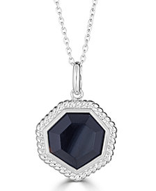 "Onyx (14mm) Beaded Frame 18"" Pendant Necklace in Sterling Silver"