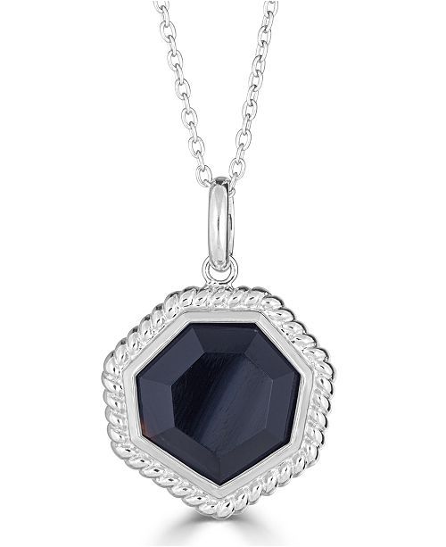 "Macy's Onyx (14mm) Beaded Frame 18"" Pendant Necklace in Sterling Silver"