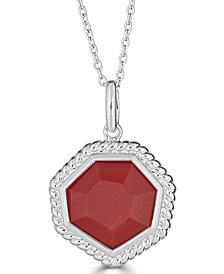"Red Agate Beaded Frame 18"" Pendant Necklace in Sterling Silver"