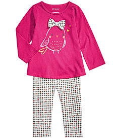 First Impressions Baby Girls Bird-Print T-Shirt & Checkered-Print Leggings, Created for Macy's