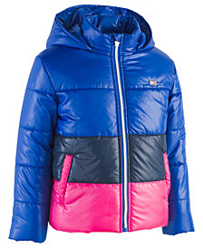 Tommy Hilfiger Toddler Girls Hooded Colorblocked Puffer Jacket