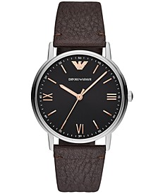 Men's Brown Leather Strap Watch 41mm