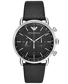 Emporio Armani Men's Chronograph Black Leather Strap Watch 43mm