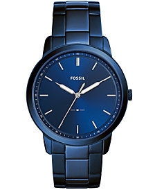 Fossil Men's Minimalist Ocean Blue Stainless Steel Bracelet Watch 44mm