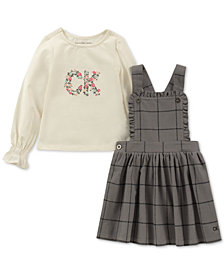 Calvin Klein 2-Pc. Logo-Print T-Shirt & Plaid Pinafore Dress Set
