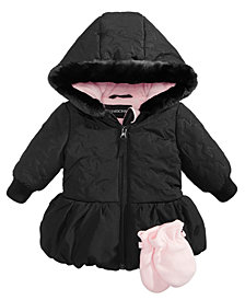 S Rothschild & CO Baby Girls 2-Pc. Quilted Hooded Jacket & Fleece Mittens Set