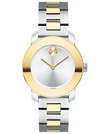 Women's Swiss BOLD Two-Tone Stainless Steel Bracelet Watch 30mm