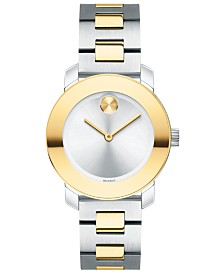 Movado Women's Swiss BOLD Two-Tone Stainless Steel Bracelet Watch 30mm