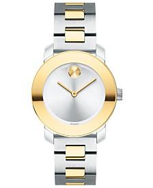 Movado Women's Swiss BOLD Two-Tone Stainless Steel Bracelet Watch 30mm