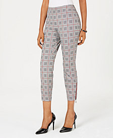 Alfani Printed Zip-Hem Skinny Ankle Pants, Created for Macy's
