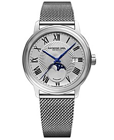 Men's Swiss Automatic Maestro Moonphase Stainless Steel Mesh Bracelet Watch 40mm