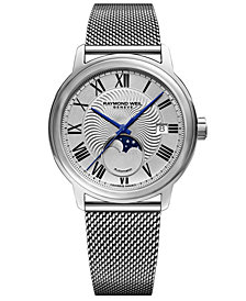 RAYMOND WEIL Men's Swiss Automatic Maestro Moonphase Stainless Steel Mesh Bracelet Watch 40mm