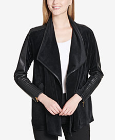 Calvin Klein Faux-Leather-Trim Flyaway Jacket