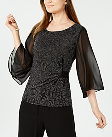 Connected Ruched Metallic Top