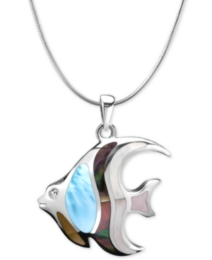 """Multi-Stone Angelfish 21"""" Pendant Necklace in Sterling Silver"""