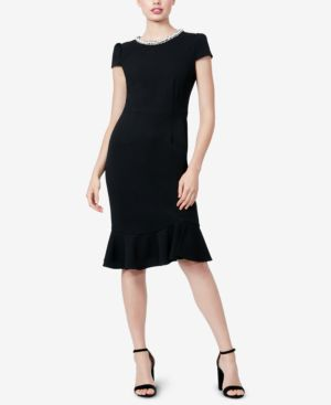 BETSEY JOHNSON Fringe & Pearly Trimmed Scuba Crepe Dress in Black