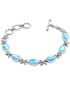 Larimar Floral Toggle Bracelet in Sterling Silver