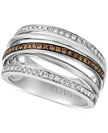 Le Vian Chocolatier® Diamond Multi-Band Crisscross Ring (3/8 ct. t.w.) in 14k White Gold