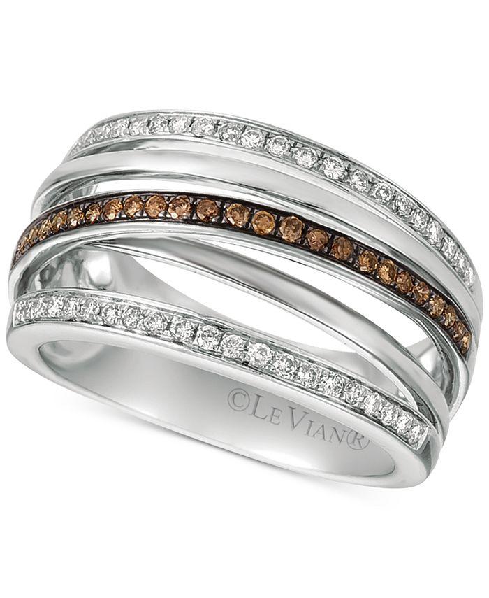 Le Vian - Diamond Multi-Band Crisscross Ring (3/8 ct. t.w.) in 14k White Gold