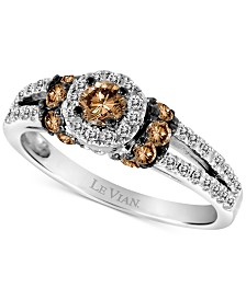 Le Vian Chocolatier® Diamond Halo Ring (3/4 ct. t.w.) in 14k White Gold