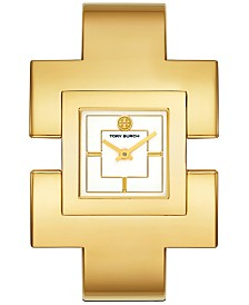 Tory Burch Women's T Bangle Gold-Tone Stainless Steel Bangle Bracelet Watch 25x25mm