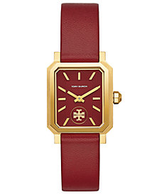 Tory Burch Women's Robinson Red Leather Roller Bar Strap Watch 27x29mm