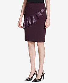 Calvin Klein Faux-Leather-Ruffle Pencil Skirt