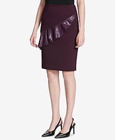Calvin Klein Faux-Leather-Ruffle Pencil Skirt