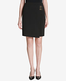 Calvin Klein Embellished Wrap Pencil Skirt