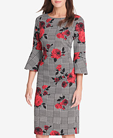 Jessica Howard Floral Mixed-Print Bell-Sleeve Sheath Dress