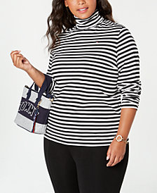 Tommy Hilfiger Plus Size Striped Turtleneck Top, Created for Macy's