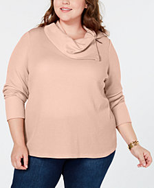 Tommy Hilfiger Plus Size Zip-Neck Thermal, Created for Macy's