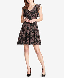 Tommy Hilfiger Flutter-Sleeve Lace Fit & Flare Dress